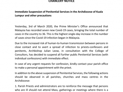 Chancery Notice: Immediate Suspension of Penitential Services in the Archdiocese of Kuala Lumpur and other Precautions