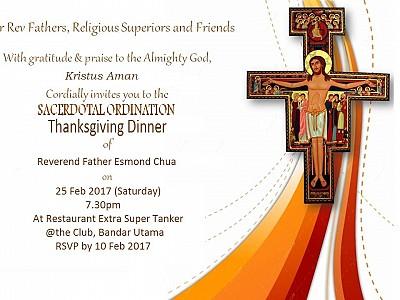 An Invitation to the Thanksgiving Dinner of Rev. Fr. Esmond Chua