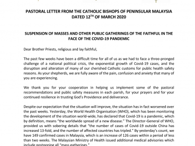 Suspension of Masses and other Public Gatherings of the Faithful in the face of the Covid-19 Pandemic